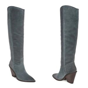 Slate Grey Indigo Tall Block Heeled Slouch Boots